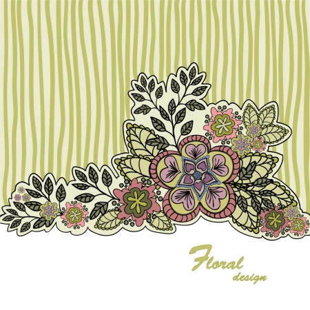 mustard: mustard striped background with a beautiful bouquet of hand-drawn Illustration