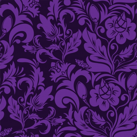 swirly design: Seamless violet floral ornament on a purple background
