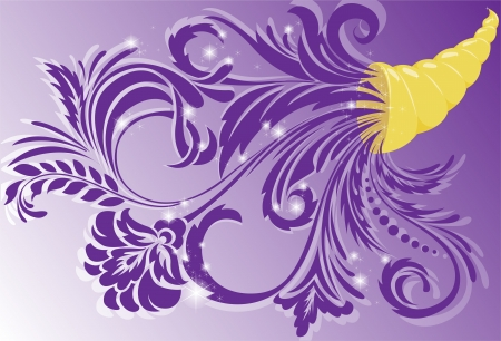 horn of plenty: golden horn of plenty with purple floral ornament Illustration