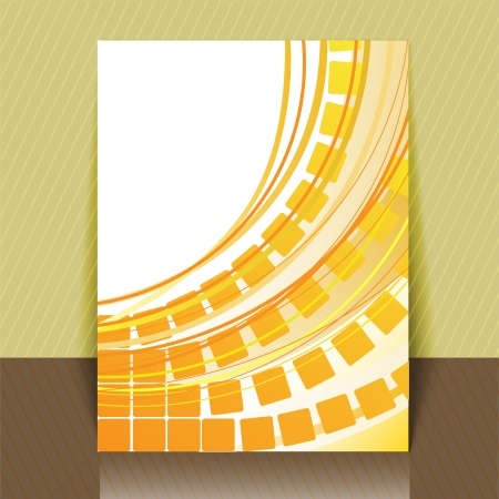arcs: abstract yellow background with squares and arcs