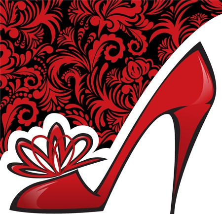 red shoe with a high heel on background with beautiful ornaments 向量圖像
