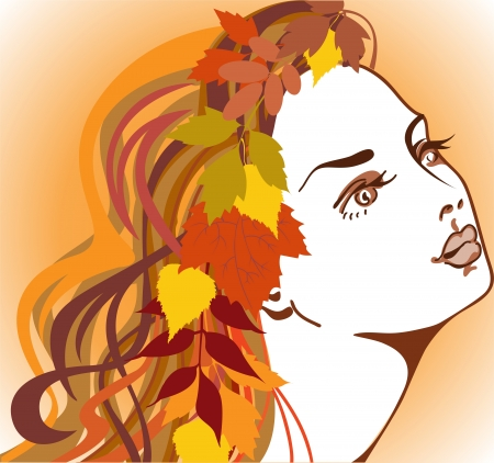 beautiful girl with autumn leaves in long hair Vector