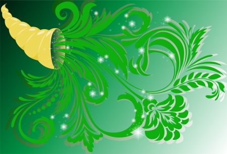 golden horn of plenty with green floral ornament Vector