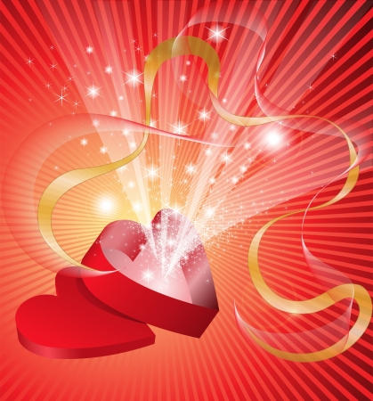 red open box in the shape of a heart from which flows a flickering light Vector