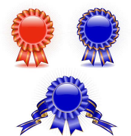set of multi-colored award medals with ribbons Vector