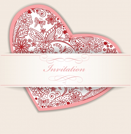 Drawn by hand from the heart on an invitation card Vector
