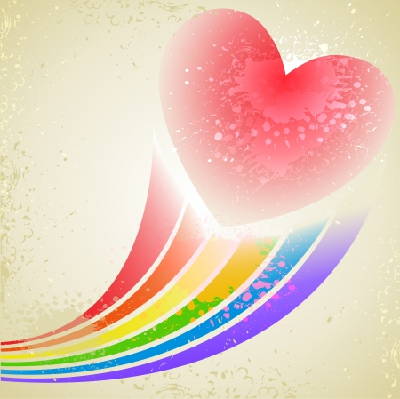 splashed: abstract splashed background with heart and rainbow beams