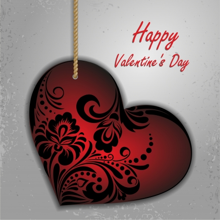 beautiful red heart on a card for St  Valentine Stock Vector - 21911421