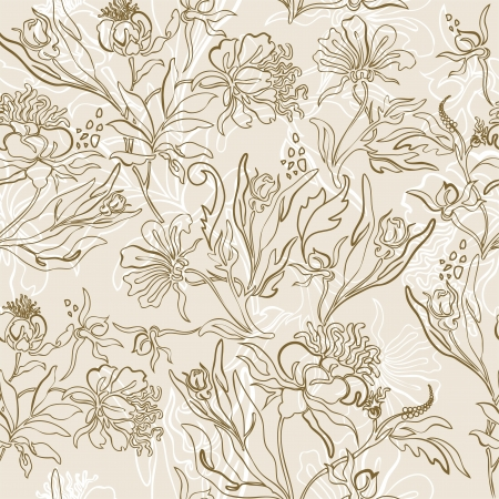 seamless light background of a beautiful floral ornament Vector