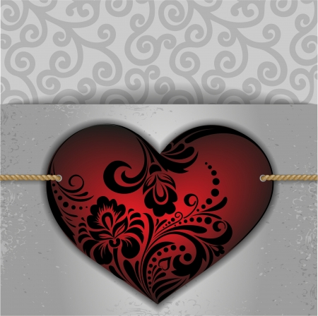 beautiful red heart on a card for St  Valentine Stock Vector - 22140951