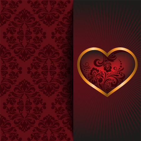 vintage background with a red ornament and beautiful heart Stock Vector - 22140954