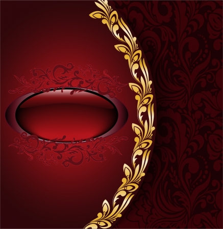 vintage background with a red ornament and oval frame Stock Vector - 22385322