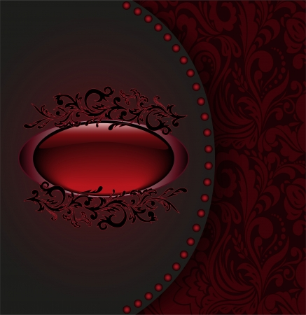 vintage background with a red ornament and oval frame Vector