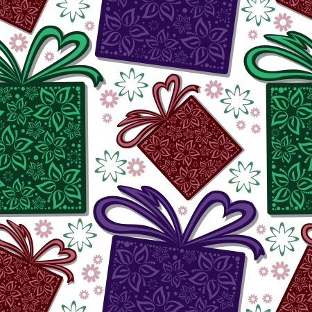 seamless background from multi-colored gift boxes and flowers Vector