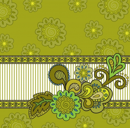 floral composition on the striped background of mustard with flowers Illustration