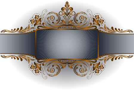 royal frame: vintage white background with gold frame on wide band