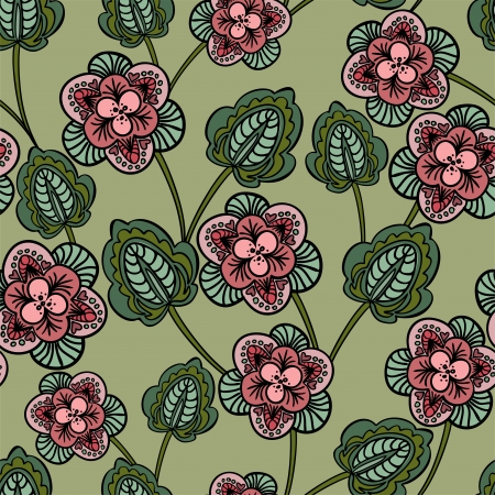 sheeted: seamless green background with stylized pink flowers