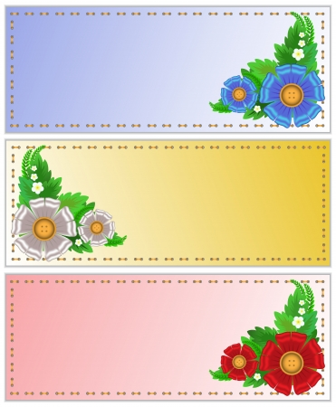 set of colorful business cards with textile flowers Vector