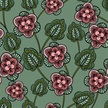 sheeted: seamless green background with pink flowers