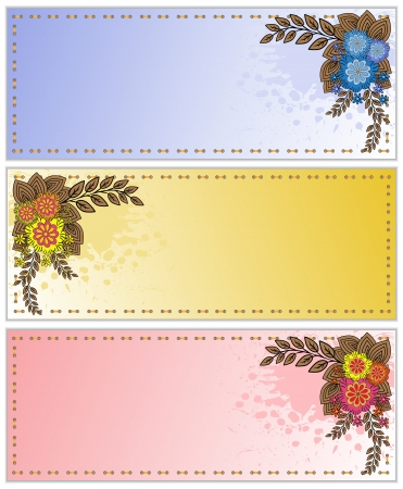 set of business cards splattered with stylized bouquets Vector