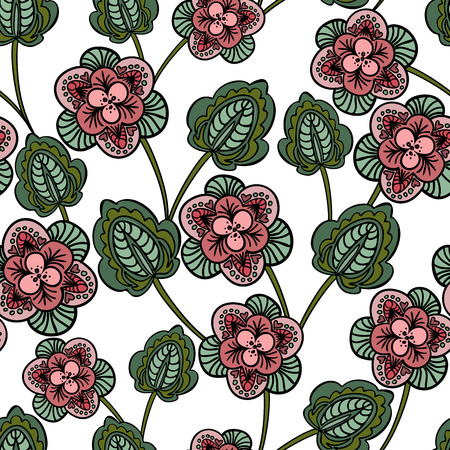 sheeted: seamless white background with pink stylized flowers Illustration