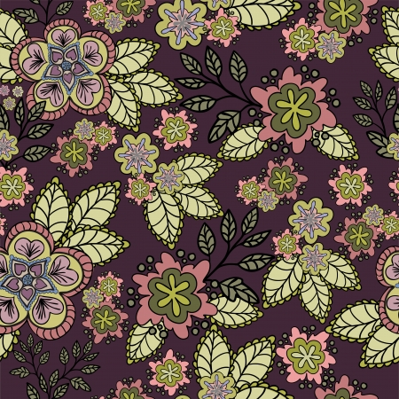 sheeted: seamless burgundy background with pink flowers