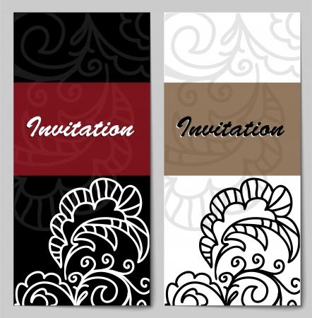 set of invitation cards for a wedding, birthday and other celebrations Illustration