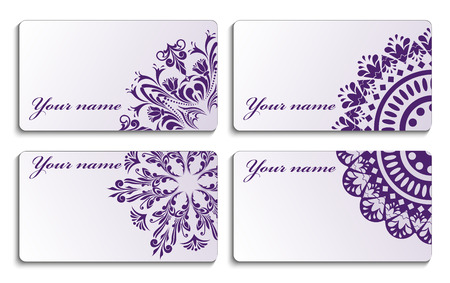 set  business cards with a beautiful ornament