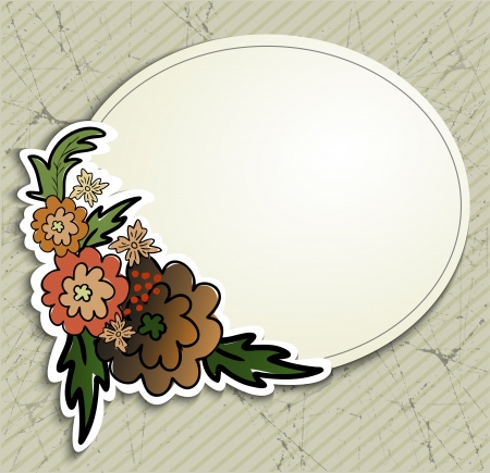 round frame with flowers on the old scratched paper Vector