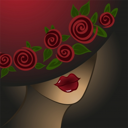 portrait of the mysterious woman in a hat with roses