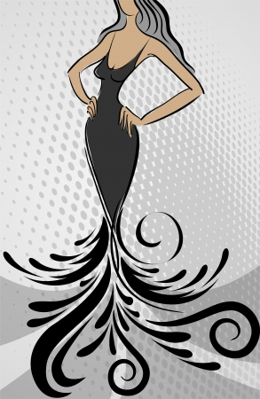 silhouette of the slender woman in long dress with an ornament Vector