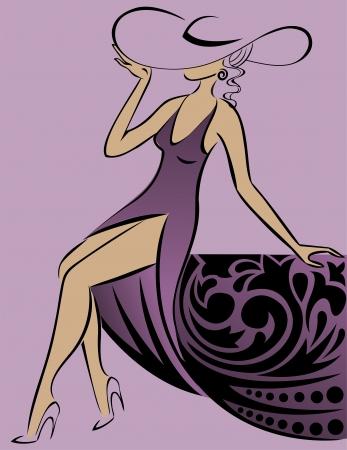 chapeaux: belle femme dans un chapeau et une longue robe de dentelle pourpre Illustration