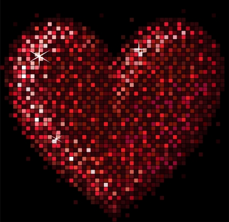 sparkling heart from small square slices Vector