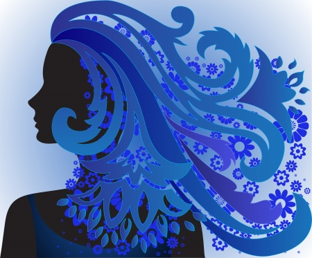 vernal: silhouette of the beautiful girl with long blue hair