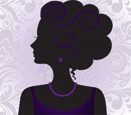 vernal: silhouette of the beautiful girl with a high hairdress on a violet ornament