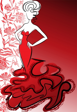 slender: silhouette of the slender woman in a long red dress on a flower background