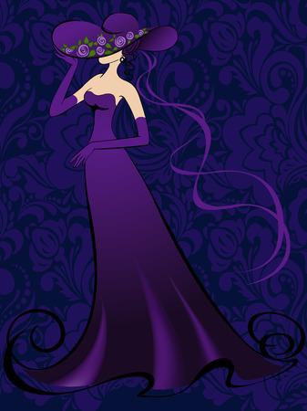 nobby: Woman in gloves and an elegant long purple dress