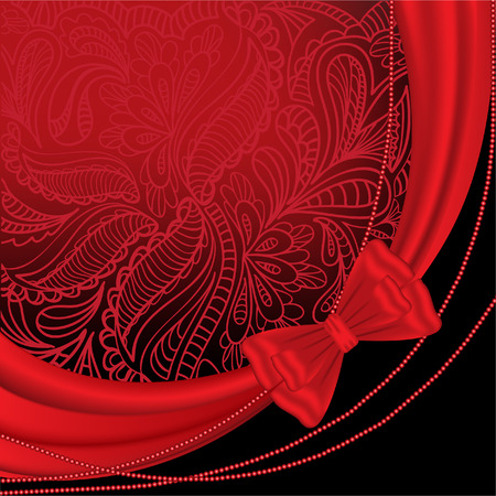 black and red: abstract black and red background with floral ornaments and accessories