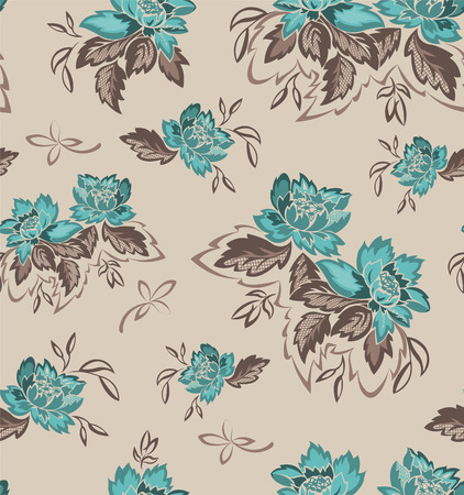 seamless background with beautiful bouquets of turquoise flowers