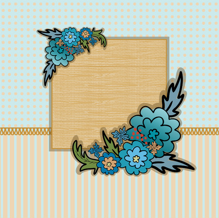 country flowers: wooden plate with bouquets of blue flowers