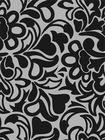 distributed: eamless gray background with randomly distributed black bouquet
