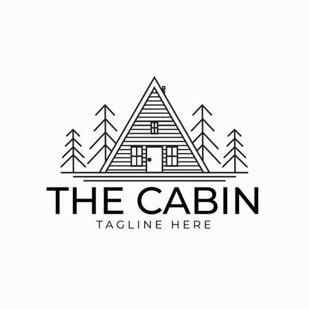 Cabin line art logo vector illustration design, minimalist logo design