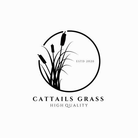 cattail grass logo vector illustration design, circle emblem