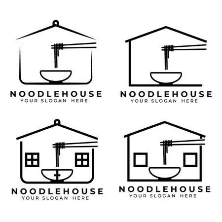 Noodle logo vector illustration design, noodle house option logo
