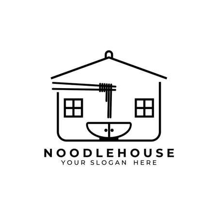 Noodle logo vector illustration design, noodle house