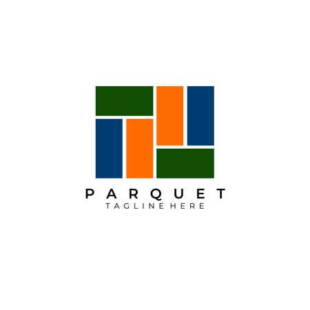 Parquet logo vector illustration design , wooden parquet