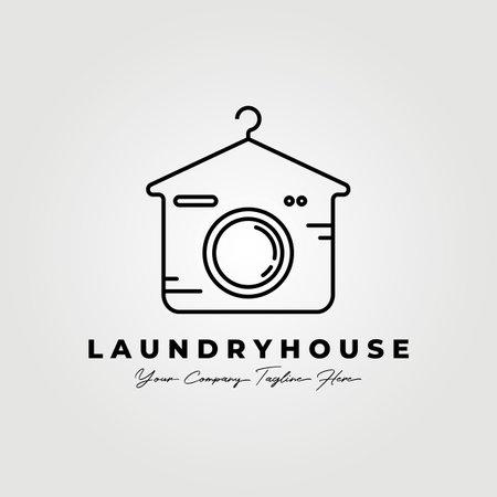 Laundry house line art logo vector illustration design graphic