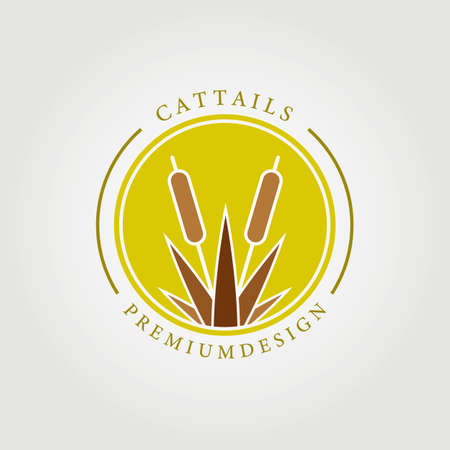 cattails logo cattail vector illustration design graphic template coloring concept