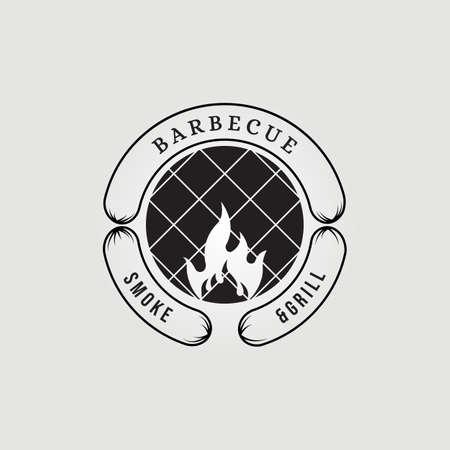 sausage Barbecue smoke & grill logo vector illustration design