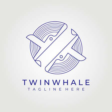 line art twin whale logo vector illustration design graphic